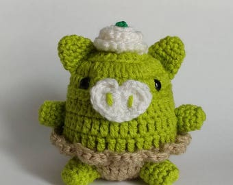 Key Lime Pie Piggy desk accessory/pin cushion/paperweight.