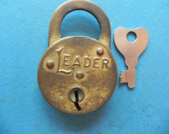 "Vintage ""LEADER"" Padlock W/ Key. Small Lock."