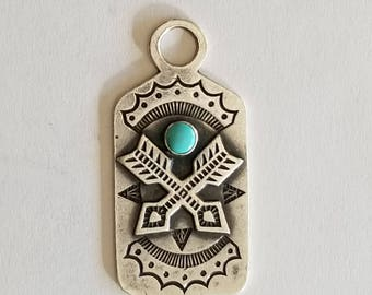 Vintage Bell Trading Post Sterling Silver Crossed Arrows Friendship Luggage Tag Fred Harvey Era Fob Charm Pendant