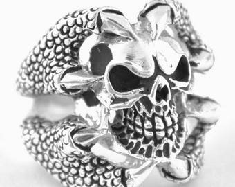 August SALE Sterling Silver 925 Biker Skull Ring Claws Made in USA