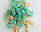 Rosary - Aqua Green Milk Glass 18K Gold Vermeil - Mary Magdalene & Saintes Maries
