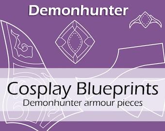 Digital cosplay costume blueprints/patterns 'World of Warcraft, WOW, Demonhunter Worbla armour/armor pieces' by Pretzl Cosplay - PDF