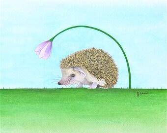 Original watercolor hedgehog painting, cute hedgehog art, animal watercolor, woodland animal, woodland theme art, watercolor wall art