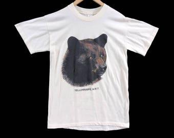 VTG 80s Yellowknife NWT Tourist T-Shirt - Medium - Black Bear Shirt - Light Yellow  Northwest Territories - Vintage Tee - Vintage Clothing -