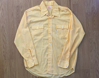 VTG 70s LEVIS Western Shirt - XL - Cowboy Shirt - Rockabilly - Vintage Clothing - Checkered Shirt - Vintage Levis - Country - White tab -