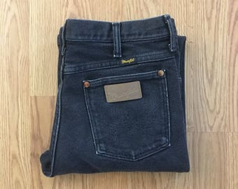 31x34 Vtg Wrangler jeans - Classic Cut - High Waisted Jeans - Black - Vintage Clothing - Western Wear - Boyfriend Jeans - 90s Clothing -