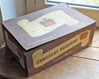 Antique beginning of 20thh century French big wooden box for chocolate 'Suchard', vintage wood 'and cardboard box