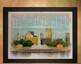 SALE-SHIPS Aug 22- Pittsburgh Skyline Dictionary Art Print, Pennsylvania Point State Park Fountain Wall Art Home Decor Fine Art da544