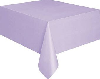 strong reusable 52in wide x 90 inch long vinyl table cover in lavender