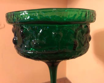 """Vintage 1960s Stelvia Glass """"Antiqua"""" Emerald Green Tall Votive Candle Holder Designed by Wayne Husted"""