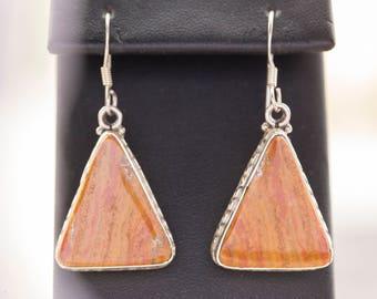 Vintage Orange Jasper Sterling Silver Triangle Dangle Earrings Orange Jasper Dangle Earrings, Sterling Orange Dangle Earrings, Orange Jasper