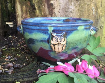 Soup/Cereal/Snack Bowl - with Handles - Owl Stamp - Aurora Borealis Glaze - Wheel Thrown Pottery