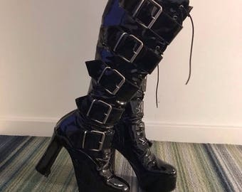 1970s Styled Patent Leather Glam Rock Buckled Platform boots.