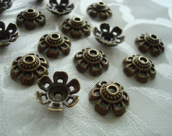 32 Antique Bronze 6 Petal Retro Flower Caps. 11x5mm. Well Domed for 14mm Beads. Velvety Smooth Open Petals. 2mm Hole.  USPS Ships Rates/OR