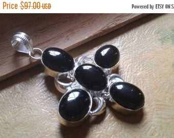 Holiday SALE 85 % OFF Black Onyx Gemstones  . 925 Sterling Silver