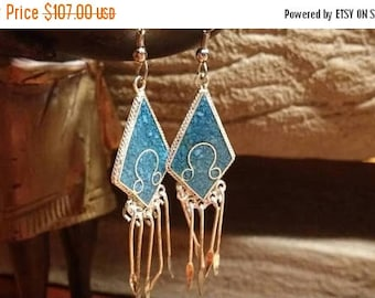 Holiday SALE 85 % OFF Turquoise Chandelier Boho Hippie Chic Bohemian Gypsy Belly Dancer Earrings