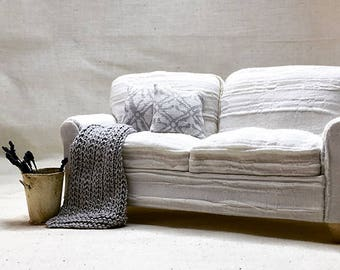 Shabby Chic Handmade Miniature Dollhouse Sofa or Chair Throw - Small Hand Knitted - Pick a Color