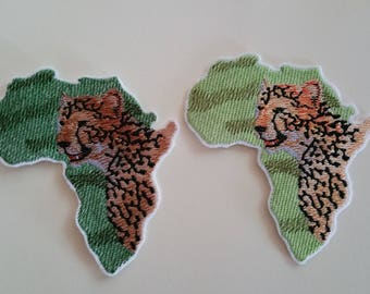 Cheetah iron on or sew on patch Cheetah patch Africa patch Africa map patch Wild animal patch Cheetah applique Africa applique Animal patch