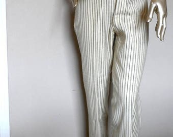 55% OFF Vintage Wool Pale Yellow Striped Trousers* Size L . Front Button Fly . Wide Legs . Cuffs . Pockets . Tailored . Gotta Have Them!!