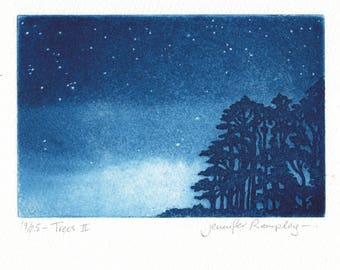Trees II - Etching of a Tree by Jennifer Rampling