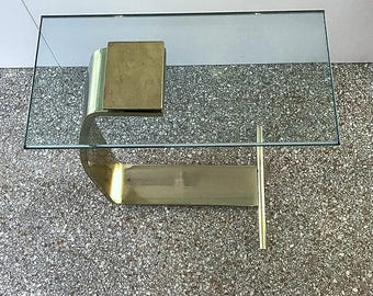 Modern Drink/Side Table, Design Institute of America, Brushed Brass, Clear Glass