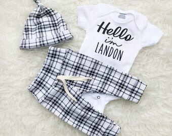 Black & White Plaid 'Hello' Personalized Set