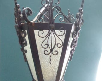 Small hand made wrought iron lantern made in Spain.