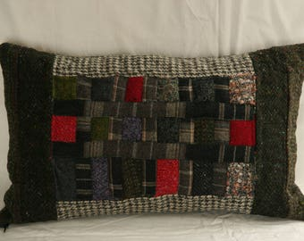 cushion - green - tweed-
