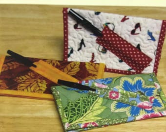 Check Book Cover, Uses Two Fat Quarters, Great for Gifts, By Legacy Patterns, Quilted Checkbook, Pen Holder, Note Pad Holder, Scrap Fabric