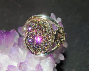 Beautiful Rainbow Flame Aura Quartz Titanium Crystal Cluster Ring in 925 Sterling Silver ~ Stone of Astral Journeys ~ Empowers All 7 Chakras