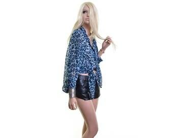 leopard shirt leopard print shirt sheer blouse leopard blouse animal print dress shirt blue oversized shirt vintage blouse womens xl 2xl +