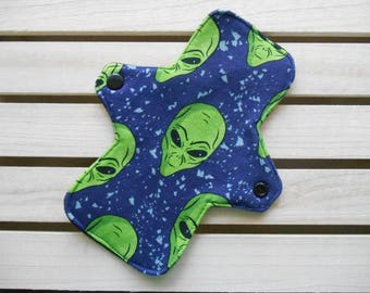 Aliens Cloth Panty Liner - Regular Fit Long Cloth Pad, Out of Space, Alien Head, Washable Liner, Alien Period, Extraterrestrial, CSP