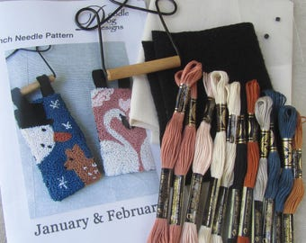 Punch Needle KIT ~ January Banner ~ February Banner ~ Punchneedle Kit ~ Needle Punch Kit ~ Mailed Paper Pattern ~ Valentine Hearts ~ Snowman