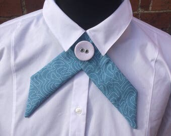 Teal print crossover necktie