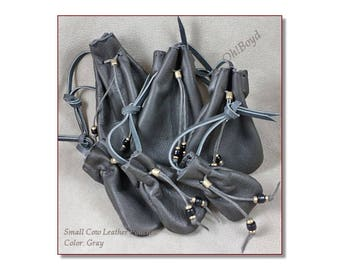 Small Drawstring Pouches, Color: Gray - Soft Strong Leather Stitched by Hand, 6 Sizes, Limited Quantites - Gift Packages, Collection, Dice