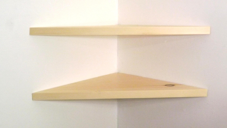 set of 2 24 inch floating corner shelves 1 inch thick natural. Black Bedroom Furniture Sets. Home Design Ideas