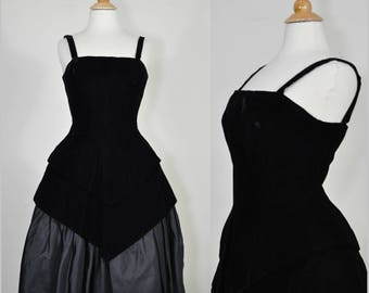 1960s Cocktail Party Dress Black Incredible Construction LBD S/M