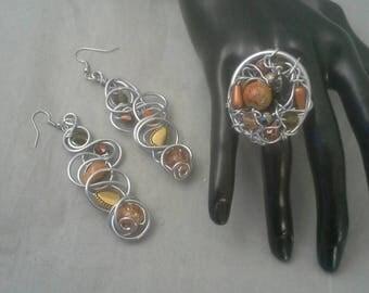 Earrings and Ring Set, Aluminum Wire Ring, Beaded Bracelet