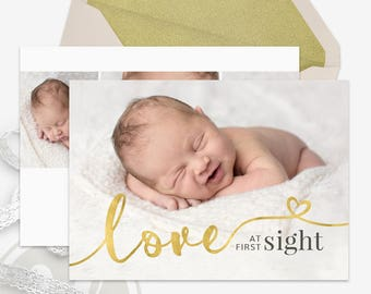 Gold Birth Announcement Template - Baby Announcement, Instant Download, DIY Template, Editable Photoshop Template, Printable Announcement
