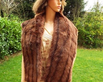 Real fur stole 1920s/30s luxurious Russet brown mink fur stole shawl Real fur wrap Mink wrap Bridal fur Wedding fur Striped real fur wrap