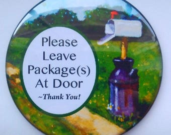 "3.5"" Door Magnet, Door Sign, Please Leave Package(s) At Door, Country Mailbox, Milk Can, Art, Illustration, Delivery Person Notification"