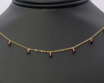 Dainty Garnet Choker, Garnet Necklace, Garnet Jewelry, Birthstone Choker, Birthstone Necklace, Dainty Choker, Minimalist Necklace