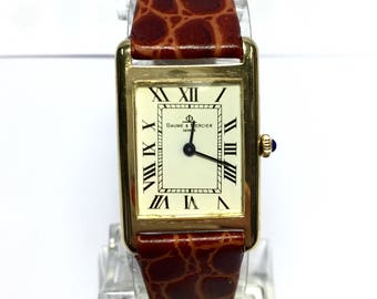 BAUME & MERCIER 14K Solid Yellow Gold Ladies Watch w/ Brown leather Band