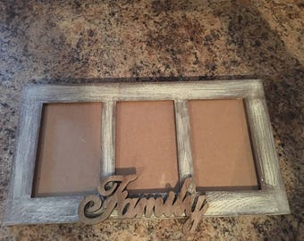 3 window picture frame. Distressed.  Family