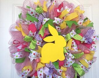 Easter Door Hanger Easter Decor Deco Mesh Wreath Easter Wreath Front Door Decor  Bunny Wreath Spring Wreath