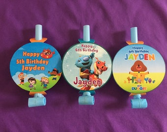 12 Personalized Party Blowouts, Party Blowers, Party Favors - Little Einsteins, Hey Duggee, WallyKazam