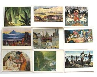 Modern artists of India, Set of 19 Postcards, Russian Art, Portrait, Indian, Print, Unused, Soviet Vintage Postcard, USSR, 1963, 1960s