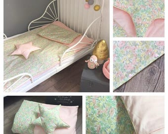 Duvet cover baby 120 x 80cm, pink and Liberty Poppy and Daisy Pastel