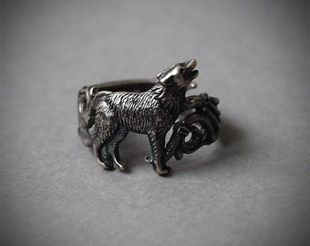 Silver 925 ring, Wolf ring, Howling wolf, Wolf, Wolf jewelry, Sterling silver ring, Silver jewelry, Dog ring, 925 Silver jewelry