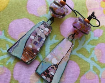 View From A Crow's Nest, Boho Ceramic Earrings, Asymmetric Earrings, Art Earrings, silverfishdesigns, JosephineBeads, Northernblooms